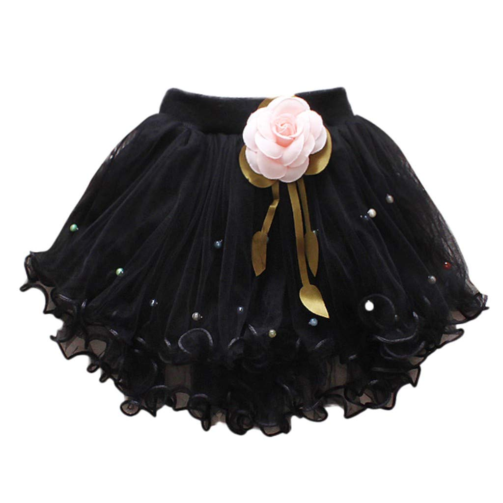 WUAI Baby Girls Tutu Skirts Layered Tulle Birthday Princess Dance Party Floral Dresses (Black,2-3 Years)