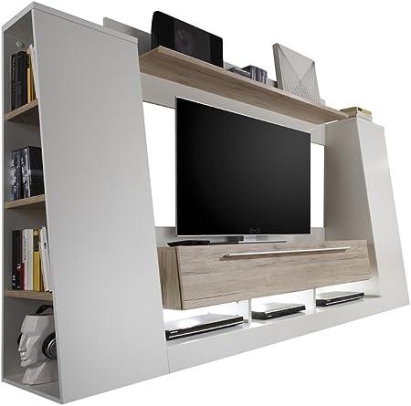 elbectrade Mueble para Poner la TV Moderno Dakota, Mueble para salón Blanco y Roble.: Amazon.es: Hogar