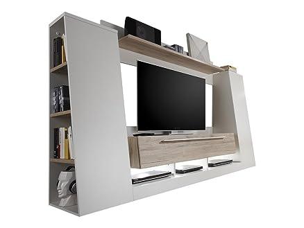 Parete porta tv moderna Dakota, mobile soggiorno bianco e rovere ...
