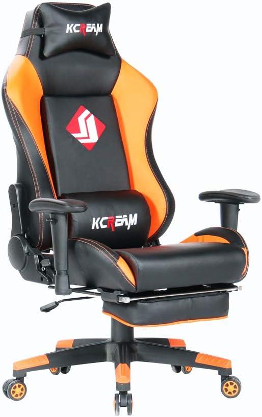 KCREAM Sedia Gaming da Ufficio Relax con Sedile Sportivo Larga Sedia ergonomiche da Alta Sportiva con Supporto Lombare e poggiapiedi Regolabile Arancione