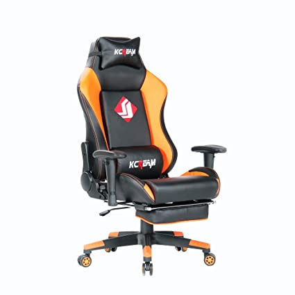 Astonishing Kcream Gaming Chair High Back Pu Leather Computer Chair Comfortable Office Chair Game Chair With Footrest And Headrest And Lumbar Andrewgaddart Wooden Chair Designs For Living Room Andrewgaddartcom
