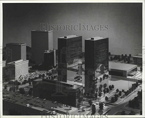 1975 Press Photo Model of the Greenway Plaza Project and The Summit, - Plaza Summit