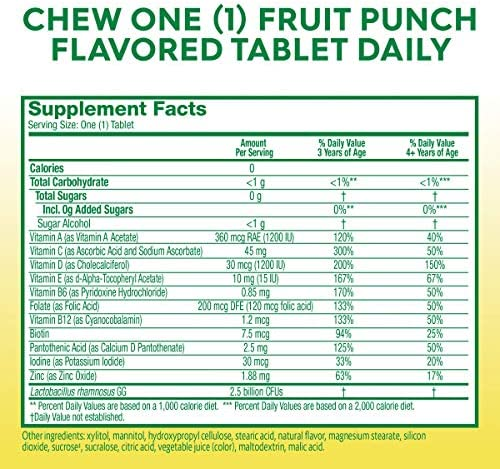 51CLUD1pzAL. AC - Culturelle Kids Complete Multivitamin + Probiotic Chewable - Digestive & Immune Support For Kids - With Vitamin C, D3 And Zinc - 50 Count