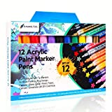 Paint Pens | Rock Painting Kit | FREE 50 Page Acrylic Sketch Pad | Reversible Nib Sizes 1mm, 3mm, 5mm | Premium Acrylic Paint Marker Pens for Painting Rock, Pebble, Porcelain, Ceramic, Glass, Leather