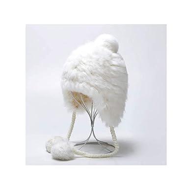 White and Winter Tide Thick Fur Hat Warm Earmuffs Big Pom Pom Ball ... fd9deca31352
