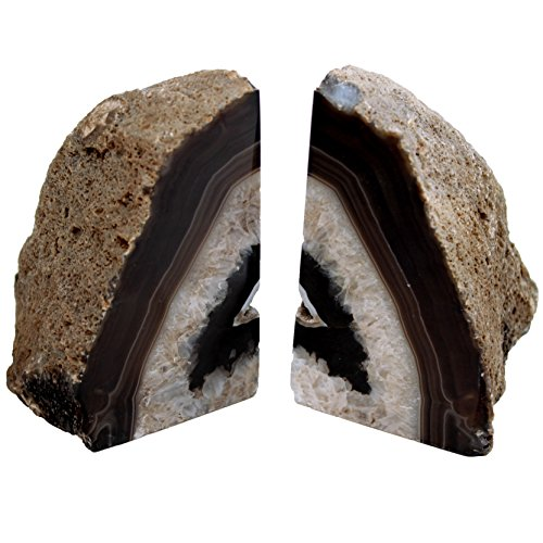 Genuine Agate (Genuine Brazilian Extra Quality Agate Bookends - Dark Brown (3-6 lbs) Certified Mineral Guide Card Included)