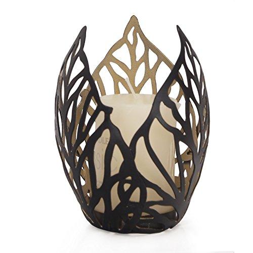 Adeco Decorative Leaf Design Metal Pillar Candle Holder - Black Color - Home Decor (Leaf Pillar Holder)