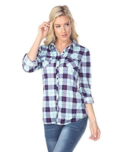 White Mark Women's Roll Up Long Sleeve Plaid Button Down Casual Shirt in Mint & Grey - Small from White Mark