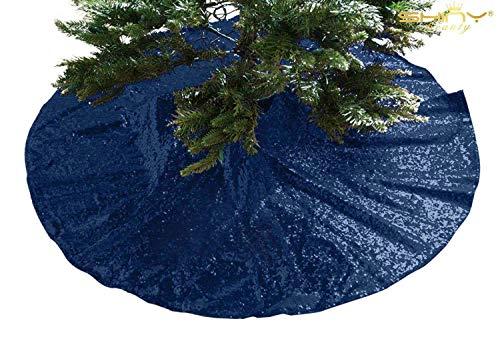 ShinyBeauty 48Inch Round Christmas Tree Skirt Embroidery Navy Blue Sequin Christmas Tree Skirt Christmas Decoration~1114E
