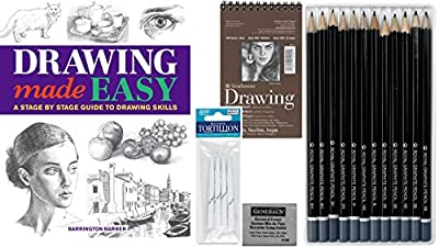Artists Drawing Pack Bundle - Sketch Pad, Drawing Pencils Pack, Kneaded Eraser, Tortillons, Drawing Made Easy Book Graphite To Go Art Supplies Kit