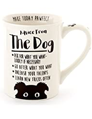 """Enesco 6000547 Our Name Is Mud """"Advice from the Dog"""" Stoneware Coffee Mug, 16 oz, White"""