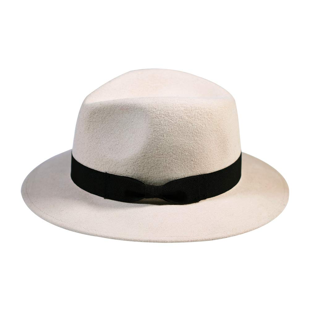 63061eb3b36 Wool Fedora Hat-Women s Felt Floppy Panama Hats Vintage Classic Ladies Wide  Brim Cap s Band Accent at Amazon Women s Clothing store