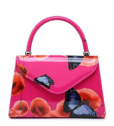 Top Butterfly Poppy Handle 1 Ladies Handbag Clutch Patent Summer Bag Women's MA34871 Black Floral EqHWz74