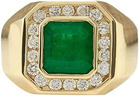 4.26 Carat Natural Green Emerald and Diamond (F-G Color, VS1-VS2 Clarity) 14K Yellow Gold Luxury Statement Ring for Men Exclusively Handcrafted in USA