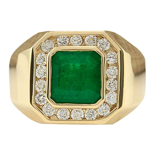(4.26 Carat Natural Green Emerald and Diamond (F-G Color, VS1-VS2 Clarity) 14K Yellow Gold Luxury Statement Ring for Men Exclusively Handcrafted in USA)