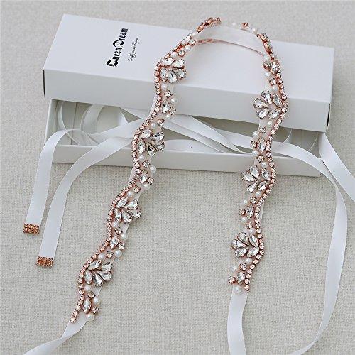 Handmade Crystal Rhinestone Bridesmaid Sashes beaded Applique Bridal Wedding Dress belt ()