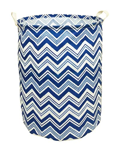 (CLOCOR Large Storage Bin-Cotton Storage Basket-Round Gift Basket with Handles for Toys,Laundry,Baby Nursery (Blue Wave))