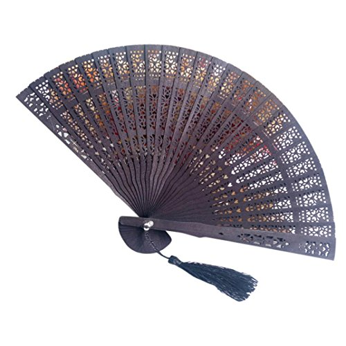 Cinhent Hand Folding Fans Chinese Style Wedding Hand Fragrant Design Party Gifts Carved Bamboo Personalized Foldable Fan For Tranditional Cultural Enthusiast (Carved Palm Leaf)