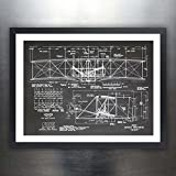 WRIGHT FLYER FIRST AIRPLANE 1903 BLACKBOARD ART 18x24 PRINT POSTER BROTHERS ORVILLE WILBUR FLYING UNFRAMED