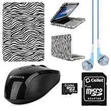 Faux Leather Book Style Folio Protective Cover for Apple Macbook Pro 13.3-inch Laptops + Blue VanGoddy Headphones + Black USB Wireless Mouse + 16GB Memory Card (Zebra)