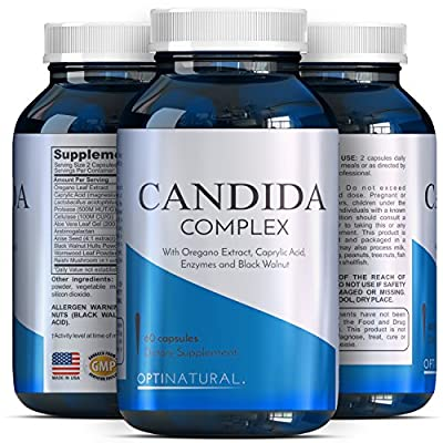 Candida Cleanse Detox Supplements For Men And Women - Pure Acidophilus - Potent Caprylic Acid - Natural Oregano - Candida Complex Pills - Cellulase + Protease + Anise - Natural Enzymes - Optinatural