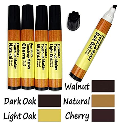 Assorted Furniture Touch Up Repair Markers Kit - Set Of 5 -Total Furniture Repair System - For Stains, Scratches, Wood Floors, Tables, Desks, Carpenters, Bedposts, Touch Ups, And Cover Ups - By - Old Wood Furniture