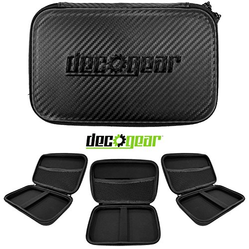 "Deco Gear 7"" Hard EVA Case for Tablets and GPS with Dual Zipper System - Black with Carbon Fiber Design"