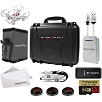 DJI Mavic PRO Ultra Tough Hard Case with Accessories Bundle Includes Lens Filters, Memory Card/Reader, Power Battery Bank, iPhone Cable, Lanyard, Sun Shade, Cleaning Cloth and Free Mini Drone