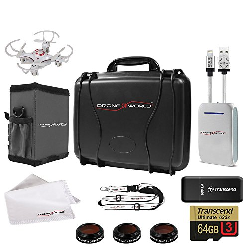 DJI-Mavic-PRO-Ultra-Tough-Hard-Case-with-Accessories-Bundle-Includes-Lens-Filters-Memory-CardReader-Power-Battery-Bank-iPhone-Cable-Lanyard-Sun-Shade-Cleaning-Cloth-and-Free-Mini-Drone