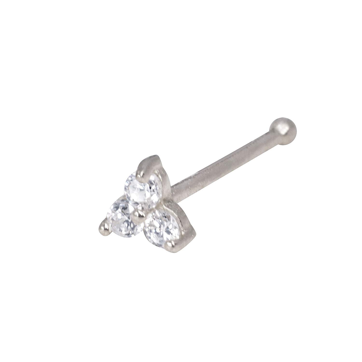 JewelryWeb Solid 14K Yellow or White Gold 3-mm 20 Gauge 3-Stone Cubic Zirconia Nose Stud YE (White-Gold)