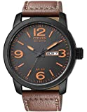 Military Watches Citizen Eco-Drive Men's BM8475-26E Stainless Steel Watch with Leather Strap