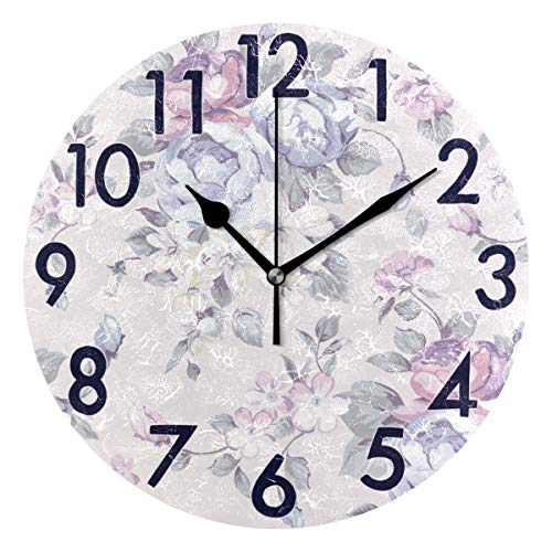 Chic Houses Round Wall Clock Watercolor Painting Gorgeous Flowers 8 Inch Battery Operated Chinese Style Fresh Acrylic Creative Decorative for Living Room Kitchen Bedroom 2030236
