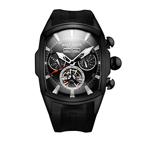 (Reef Tiger Men's Sport Watches Automatic Black Steel Tourbillon Rubber Strap Watch RGA3069 (RGA3069-BBB))
