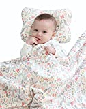 "Super Soft Baby Printed Organic Cotton Mink Blanket with Dotted Plush Velboa Fabric Backing, Bambi Pink 31"" x 40"""