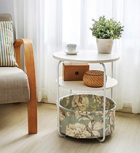 Salafey Round End Tables Bedside Table,3-Tier Sofa Side Table with Cloth Storage Basket Accent Table for Living Room,Bedroom Balcony Home and Office (With Table White Baskets Bedside)