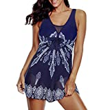 Zando One Piece Swimdress Swimsuits for Women Tummy Control Bathing Suits with Flowy Skirt Mesh Dress Long Torso Swimwear Navy White Mesh XL