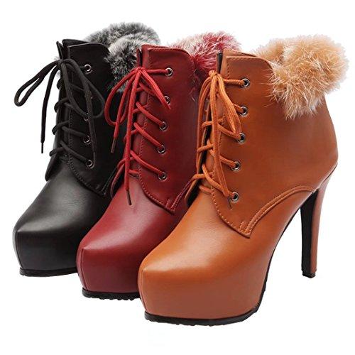 Aiyoumei Kvinna Spets-up Rund Tå Stilettos Höst Vinter Boots Med Päls Röd