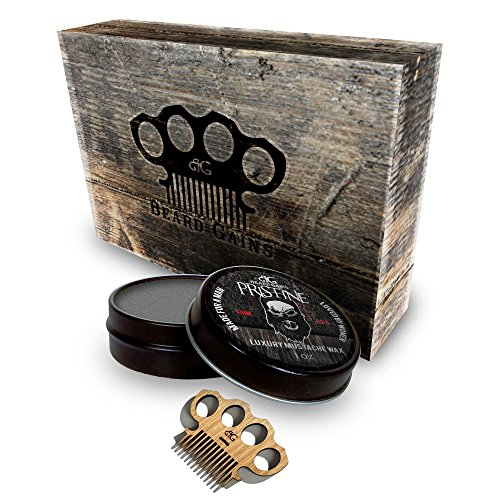 Black Mustache And Beard Kit (Beard Gains - Firm Hold Pristine Scent Mustache Wax Gift Set Kit w/ Brass Knuckles Style Mini Comb Scoop! Black Color Designed for Dark or Black Hair - No Haze Formula)