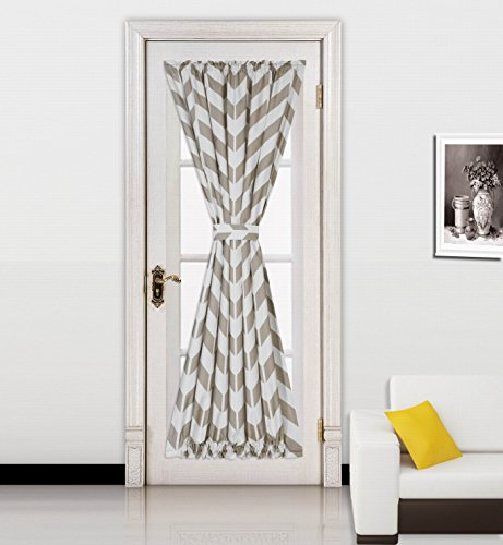 Lace French Door Curtain Panel - GorgeousHomeLinen(MEME)1pc Chevron Printed Mix Color French Door Foam Backing Insulated Thermal Blackout Rod Pocket Curtain Panel with Tieback 55