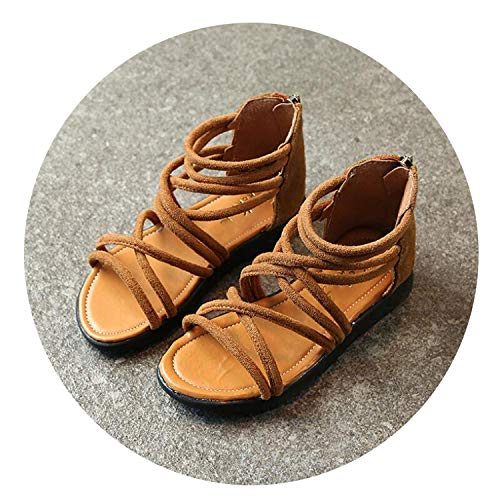 Children Shoes Kids Girls Summer Beach Sandals Pink Soft Leather Flat Sandal Casual Shoes,Brown,6.5