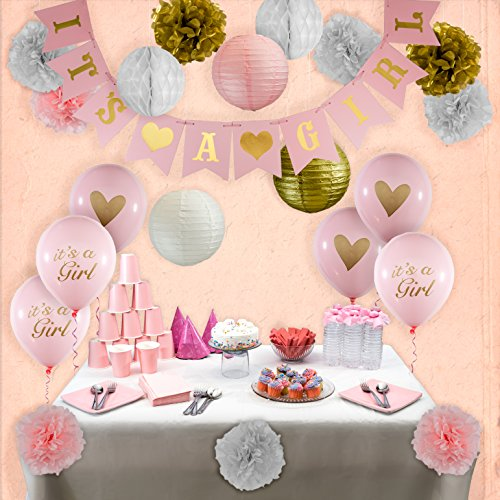 Baby Shower Decorations for Girl, White Pink and Gold IT'S A GIRL Banner, Tissue Paper Flower Pom Poms, Honeycomb balls, Lanterns, Balloons Party Decor (Baby Shower Decoration For Girls)