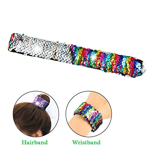 KOBWA Mermaid Magic Bracelet,2 Color Reversible Sequin Slap