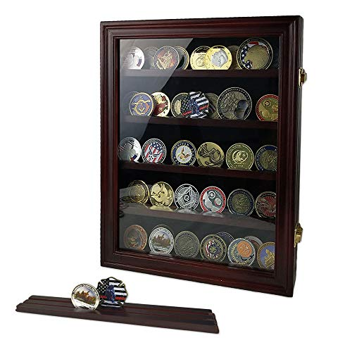 Indeep Military Challenge Coin Display Case Cabinet Rack Holder Shadow Box with Glass Door (Mahogany Finish) Challenge Coin Display Rack