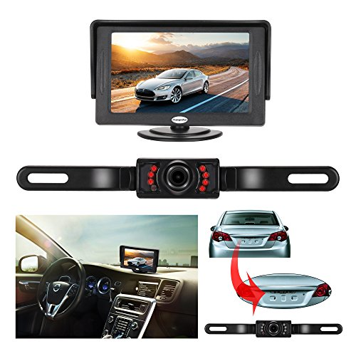 Backup Camera and Monitor Kit For Car,Universal Wired Waterproof Rear-view License Plate Car Rear Backup Camera + 4.3 LCD Rear View Monitor (Plate Guide Front)