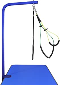 """Downtown Pet Supply Grooming Arm with Clamp (36"""" Adjustable Arm-Blue) and Dog Grooming Loop + Free Small/Medium No Sit Haunch Holder"""