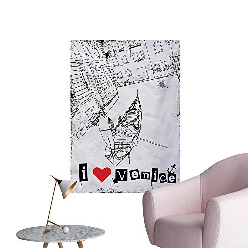 - Anzhutwelve Grunge Wallpaper Gondola Silhouette on Venetian Canal with I Love Venice Frame IllustrationRed Black White W32 xL48 Poster Print
