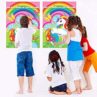Pin The Horn On The Unicorn Party Game Large Unicorn Poster Games for Kids Unicorn Birthday Party Decorations, Rainbow Unicorn Party Supplies - 48 Horns: Kitchen & Dining