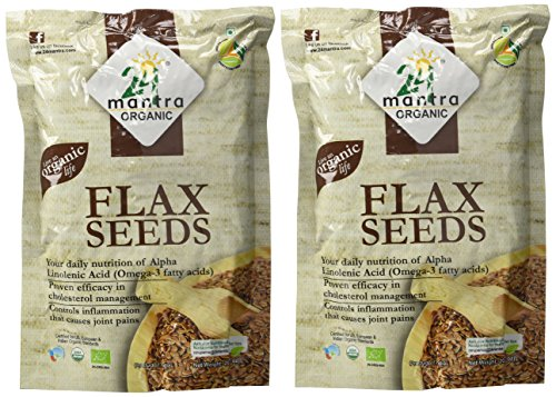 Organic Flax Seeds USDA Certified Organic EU Certified Organic Pesticides Free Adulteration Free Sodium Free - Pack of 2 X 7 Ounces (14 Ounces) - 24 Mantra Organic