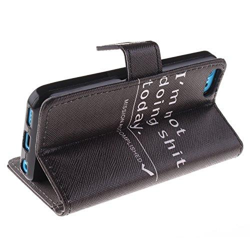 MOONCASE iPhone 5C Case Magnetverschluss [Painted Patterns] Leder Tasche Flip Case Cover Schutzhülle Etui Hülle Schale für iPhone 5C -LK23