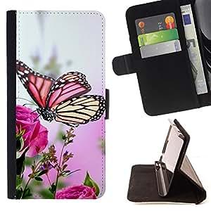BullDog Case - FOR/Sony Xperia Z3 D6603 / - / butterfly colorful rose garden nature bug /- Monedero de cuero de la PU Llevar cubierta de la caja con el ID Credit Card Slots Flip funda de cuer